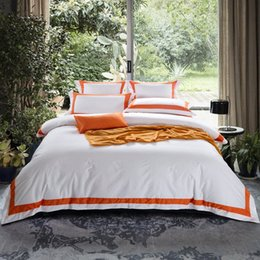 cotton super king bedding set UK - ARNIGU Orange Stripe 100% Coon Queen King Super King Size Hotel Bedding Set Flat Fied Sheet+Duvet Cover+Pillow Cases Purple Duvet Cove trlt#