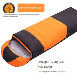 ultra light winter sleeping bag Canada - Boat of Liberty camel down outdoor autumn and winter single Warm sleeping bag stitching ultra light warm duck down sleeping bag 1000g