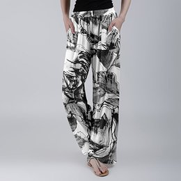 printed sport trousers NZ - Women Fashion Summer Print Pants Elastic Sports Trousers Beach Elastic Waist Wide Leg Pants Casual Straight Loose Trousers 2020
