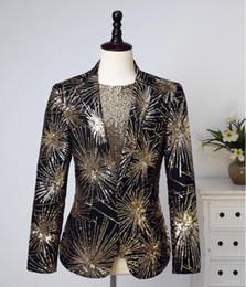 Wholesale rock stars clothes online – design sequins blazer men suits black designs jacket mens stage costumes singers clothes star style dress punk rock masculino homm