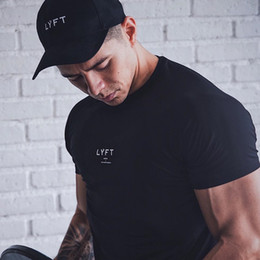 JPUK Männer T-Shirt Kurzarm Baumwollbeiläufiges Gym Fitness-T-Shirt Bodybuilding Workout Print Tees Tops Male LYFT Marken-Kleidung