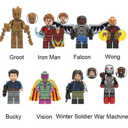 block wars Australia - Marvel Avengers Mini Action Figure Toy Super Hero Groot Iron Man Falcon Vision Winter Soldier War Machine Building Blocks