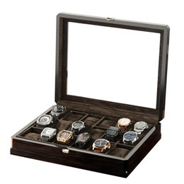 watch boxes wood Canada - Watch Boxes Storage Carbon Fiber Wood Watches Display Box Case Convenient Glasses Brown Lint Jewelry Organizer