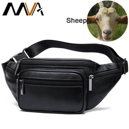 bum pack Australia - MVA Men's Waist Bag Belt Waist Packs Sheep genuine Leather Waist Bag For men women Fanny Pack Belt Bum Hip men's belt bags MX200717