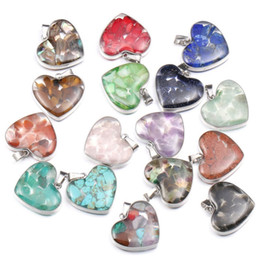 hearts love resin NZ - Wholesale 10 pcs Silver Plated Love Heart Tiger Eye Stone and Resin Pendant Red Coral Romantic Style Jewelry