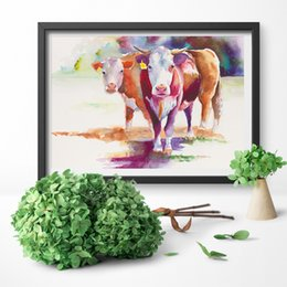 canvas prints horses Australia - HD Prints Modern Canvas Pictures Nordic Style Horse Cow Animal Painting Wall Art Home Decoration Modular Poster For Living Room