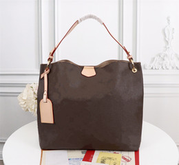 Wholesale ladies beige coats resale online - GRACEFUL MM PM Hobo in Classic Coated Canvas Extra roomy Lightweight Genuine Leather Supple Flat Strap Lady Shoulder Bag