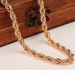men s neck chains NZ - H 5mm Rich Men ' ;S Women ' ;S 18k Rose Solid Gold Gf Thick Neck Necklace Fine Rope Chain 23 .6 &Quot ;Or 19 .6 &Quot ;Select