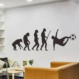 wholesale pvc footballs Canada - Human Evolution Art Wall Stickers Living Room Porch Corridor Home Decoration Mens Football Silhouette Decals Black Wall Sticker Remova WJHd#