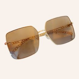 sunglasses golden chain Australia - Brand Design Square Sunglasses Women Chain Sun Glasses Shades UV400 gafas de sol Metal Frame Sunglasses
