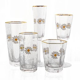 tumblers cups Australia - Daisy Hexagonal Glass Tumbler Gold Rim HighBall Whisky Glasses Wine Goblet Japanese Hammer Texture Glassware Cup for Juice Water