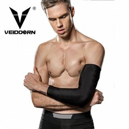 elastic knee sleeve support UK - Veidoorn 2pcs Basketball Elbow Support Compression Elastic Arm Sleeve Brace with Protective Pad Absorb Sweat for Gym Sport 69Tw#