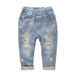denim for children NZ - Boys pants Denim Jeans Kids Spring Hole Elastic Waist Jeans Trousers for Boy Clothing Children Trousers