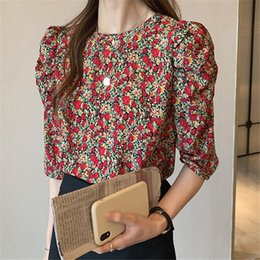 shirt korean designs UK - Summer new design sense niche floral bubble sleeve Women's loose sweet all-match Flower shirt Korean style bottoming shirt fashion