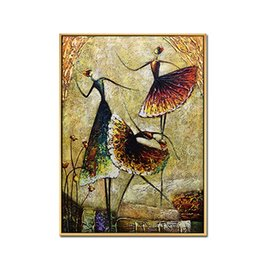 spray work NZ - Ballet Dancing Girls Modern Abstract 100% Hand Painted Oil Paintings on Canvas Wall Art Work for Living Room Home Decor No Frame
