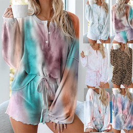 Wholesale female tracksuits sexy resale online – Lady Tie dye Pajamas Women Home Service Two Piece Suit Female Sexy Shorts Long Sleeved Casual Set Two Piece Outfits Tracksuit LJJP194