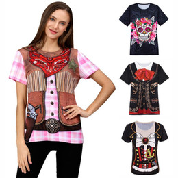 Discount clown shirts Women Cowgirl Flower Skull Clown Pirate Mariachi Costume 3D T-Shirts Cosplay Top Adult Mardi Gras Halloween Carnival Par