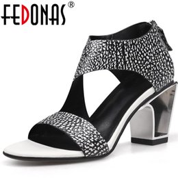 mixed animals sexy Canada - FEDONAS Sexy Women Sandals Spring Summer Genuine Leather High Heels Party Widding Shoes Woman Mixed Colors Euro Style Pumps