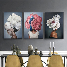 Discount figure girl sex Fashion Sex Lady Flower Figure Girl Picture Home Decor Nordic Canvas Painting Wall Art Modern Posters and Prints for Liv