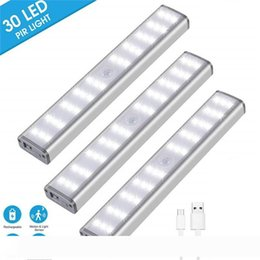 metal wardrobes Canada - 30 LED Rechargeable Closet Light Dimmable Wireless Motion Sensor LED Under Cabinet Lighting For Stair Hallway Cupboard Wardrobe Closet