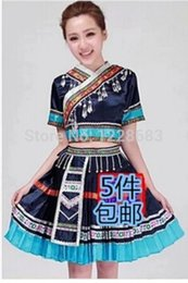 blue zebra clothes UK - New Women Miao Hmong Clothes Ancient Traditional Dance Chinese Dress Plus Size Hmong Miao Clothing