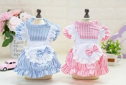 princess dog shirt UK - Strip Dog Party Bow Dress Cat Pet Princess Skirt Tutu Dress For Small Dog Summer Cotton Shirt Clothes Overall Housemaid Costume OOSK#