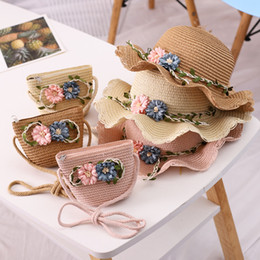 hand knit baby bag Australia - Hand Knitted Willow Double Flower Straw Hat Straw Bag Set Baby College Style Sun-resistant Lotus Leaf Hat Bucket Children Co