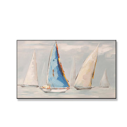 scenery paintings for living room Australia - Quadros Home Decoration Handmade Canvas Oil Painting Sailboats on the Sea Scenery Wall Art Pictures Poster for Living Room Sofa