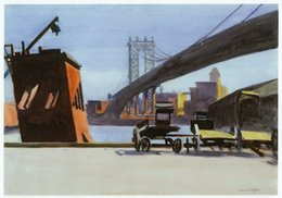 paintings bridges UK - Manhattan Bridge Edward Hopper Painting 02Home Decor Handpainted &HD Print Oil Painting On Canvas Wall Art Canvas Pictures 200802