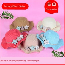 star domes NZ - Children's outdoor sunscreen Sunscreen straw beach travel straw hat dome cartoon cute five-pointed star parent-child hat