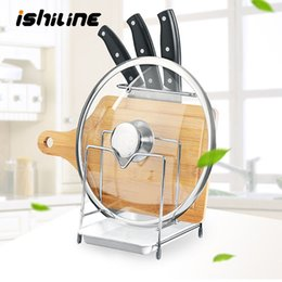 bamboo finish UK - Multifunctional Kitchen Storage Rack Stainless Steel Multi-Layer Finishing Frame Cutting Board Pot Cover Knife Drain Rack T200506