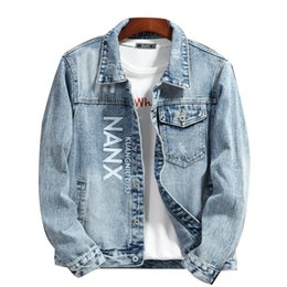 famous outwear UK - Famous Mens Jackets Men Women Jean Jacket High Quality Letter Embroidery Denim Jacket Mens Stylist Coat Blue Outwear Chaquetas Size M-4XL