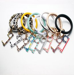 No Touch Door Opener Keychain PU Leather Bracelet Antimicrobial EDC Safe Door Handle Portable Elevator Tool DDA126