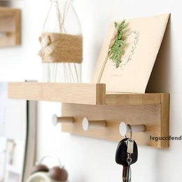keys hook rack NZ - Creative Wall Hanging Solid Wood Hook Rack Nordic Partition Shelf Wall Shelves Coat Hooks DIY Living Room Home Decor Key Hook T200115