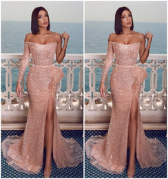 white girls dress roses Australia - Rose Gold Pink Long Prom Dresses Slit Front Sheath Formal Evening Gowns Bateau Neckline Single Long Sleeves Girls Party Unique Graduation