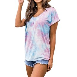 hot cotton tshirts UK - Fashion Printed Off Shoulder T-Shirts Women Summer Short Sleeve Tshirts 2020 Hot Sale Streetwear Hollow Tops#498