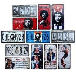 iron art car UK - Michael Jackson Che Guevara Vintage Garage Car Number License Plate Metal Tin Signs Wall Art Painting Truck Iron 30*15CM Shabby Chic Stars
