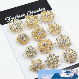 gift cake mixes Australia - 12PCS Mixed Flower Crystal Silver Plated Alloy Brooches High Quality Fashion Wedding Cake Flower Pins Girls Pretty Collar Pins 107