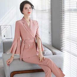 elegant white pant suits Canada - 2020 new spring and autumn high quality women pants suits Elegant solid color women's blazer jacket Casual trousers office suit T200716