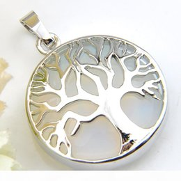 flower life silver Australia - Luckyshine Tree of Life Pendant Vintage Gorgeous Round White Moonstone Gems Silver For Women Jewelry Australia USA Pendant