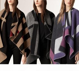 check cardigan NZ - 2017 NEW Fashion Women Oversize Cardigan Colour Check Blanket Poncho Wool Plain Cape For Lady Free Shipping