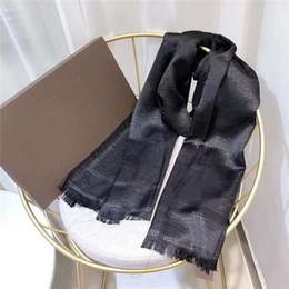 Wholesale silk scarf gold wire fashion Plain Unisex Man Women 4 Season Lamé Shawl Letter Scarves 180x90cm 9 Color With box option