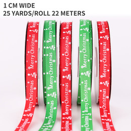 Wholesale Wholesale Merry Christmas Decoration Ribbon Ribbon and logo Christmas ribbon 22 meters a roll of 1cm wide decorative tape
