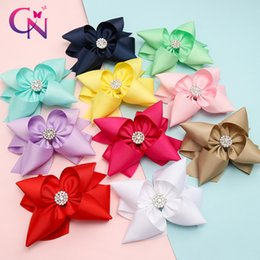 double bow hair clips Australia - CN 5'' Solid Ribbon Stacked Hair Bows With Clips for Girls Kids Rhinestone Knotted Double Layers Hair Clips Accessories