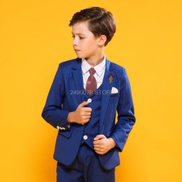 boys formal jackets Australia - Kids Formal Jacket Vest Pants Bowtie 4Pcs Party Dress Flower Boys wedding suit Children Piano tuexdo Clothing Set blazer Costume