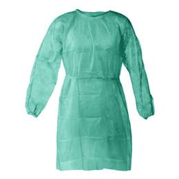 Нетканые защиты Мантия Unisex одноразовой защитной изоляции Одежда 3 цвета пылезащитный платье Кухня Фартук CCA12336 120pcs на Распродаже
