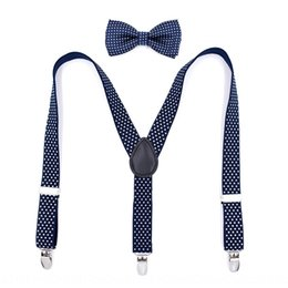men clip bow ties UK - Children's three-clip bow tie set children's straps Shoulder strap crawler panty panty clip boys' and girls' pants straps