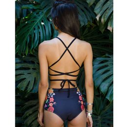 Wholesale bikini ethnic for sale – plus size 2020 Sexy Floral Ethnic Printed High Waist Swimsuit Strappy Swimwear Women High Neck Bikinis Set Halter Bandage Bathing Suit