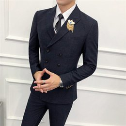 green jacket double breasted mens Canada - 2020 Navy Blue Double-breasted Suit Mens Wedding Suits Custom Made Slim Fit Business Suit Groom Tuxedo 2 Piece Set(Jacket+Pants)