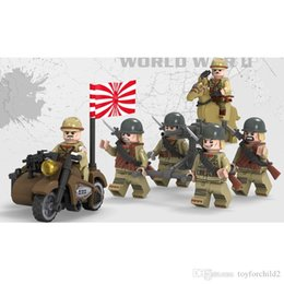 japanese mini figures Canada - WW2 The Sino-Japanese War Japanese Army Solider MIlitary Mini Action Figure With Weapon Building Blocks Brick Toy For Boy